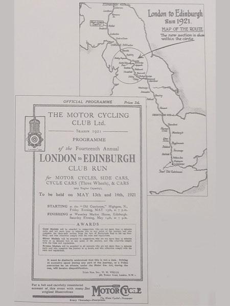 London to Edinburgh 1921 programme